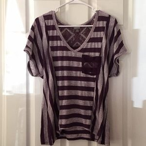 Vanity Striped Top With Lace